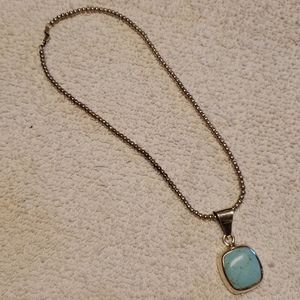 Turquoise Pendant Chain Vtg Ball Necklace